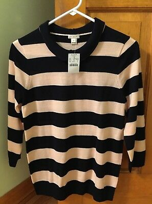 JCREW Washable Merino Wool Peter Pan Collar Navy/Pale Pink Sweater/Top BNWT!!