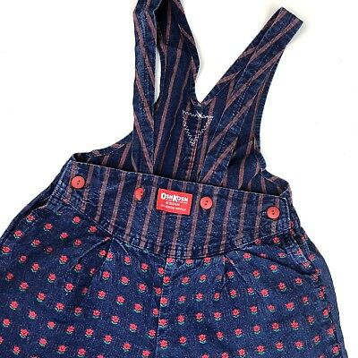 Vintage Oshkosh B'gosh Girl's Size 5 Denim Overalls Red Floral Rosette USA!