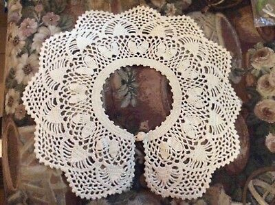 Vintage Hand Made Crochet Collar Ivory Color Ornate Piece See Photos