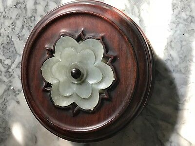 Very Rare Antique Imperial Chinese Wooden Lid w/Inset Jade Flower on Top