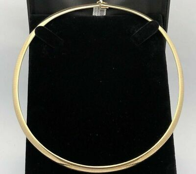 """Italian 14k Yellow Gold Omega Style Choker Necklace 17"""" 5.9mm 26.5 grams"""