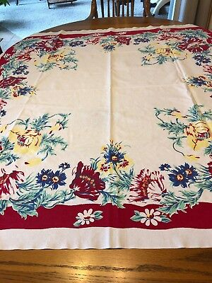 vintage tablecloth Red Boarder Red Yellow And Blue Flowers