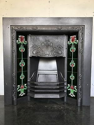 Restored Antique Style Cast Iron Art Nouveau Tiled Insert Fireplace (TA296)