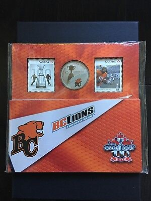 BC LIONS 2012 Canadian Football Grey Cup Stamps & Coins Set // Package Sealed
