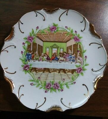 Religious Plate Lords Last Supper 18K Gold Trim Decor Collectible Made in Japan