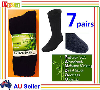 7Pairs 90% BAMBOO SOCKS Men's Heavy Duty Thick Work Socks Cushion BULK New Black