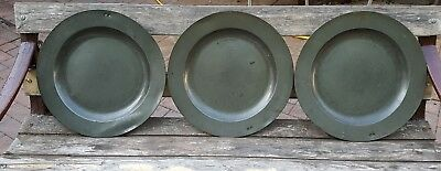 "Rare Large Set Of 3 18"" Antique 17Th Century Pewter Chargers"