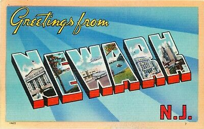 New Jersey Postcard: Large Letter Greetings From Newark, Nj