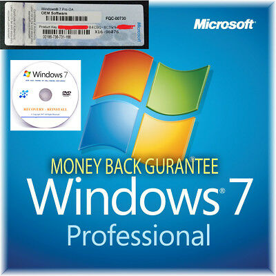 Windows 7 Professional 64 Bit Genuine COA Licence Key with Repair Disc CD DVD