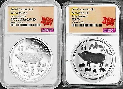 2-Coin-Set 2019 Lunar Year of the PIG 2x 1oz $1 Silver NGC PF70+MS70 Proof+BU ER