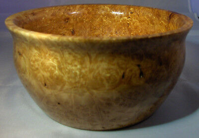 Turned Spalted Maple Burl Bowl Beautiful Colors, Striking Grain Patterns, Signed