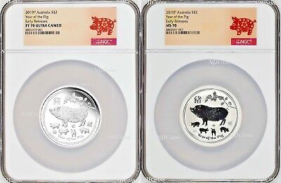 2-Coin-Set 2019 Lunar Year of the PIG 2x 2oz $2 Silver NGC PF70+MS70 Proof+BU ER