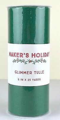 Green Glimmer Tulle Spool - 6 inches x 25 yards - Nylon