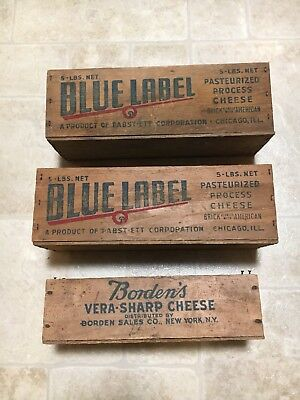 2 Blue Label Cheese 5lbs box 1 Bordens 2lbs box  lot of 3 vintage wood boxes
