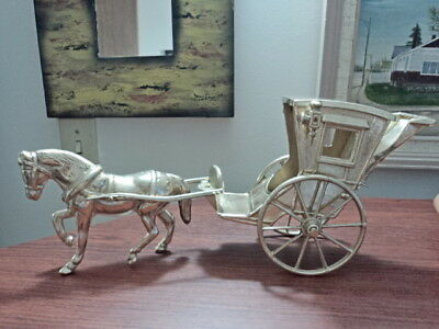 Brass Horse Drawn Carriage in excellent shape. Die-cast. Real Metal.