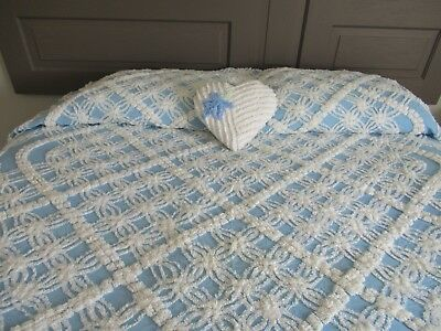 Vintage Blue And White Chenille Bedspread