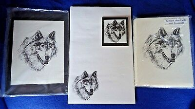 Timber Wolf 3 Pc Set-Notepad, 6 Blank Notecards and Magnet New