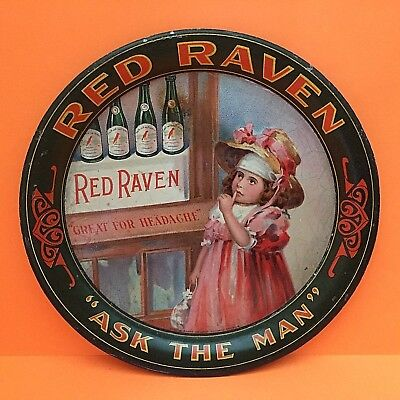 RED RAVEN SPLITS * ASK THE MAN * HEADACHE Advertising  ANTIQUE TIP TRAY Rare