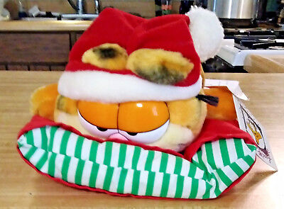 Dakin - Plush - Christmas Garfield laying on pillow - with tag - FREE SHIPPING