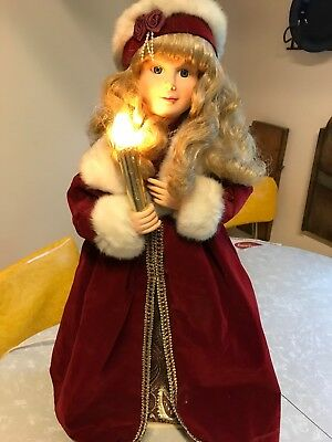 Vtg '93 Telco Motion-Ette Lighted Animated Christmas Victorian Snow Princess Red