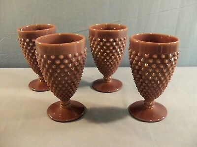 Set of 4 Mosser from Fenton Mold Eggplant Purple Glass Hobnail Water Goblets