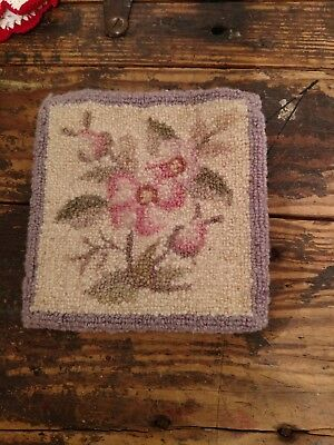 "Old Antique Hooked Floral Sampler 6"" x 6"" Purple, Pink, Green and Cream (PrEttY)"