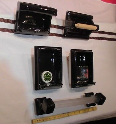 Vintage *Glossy Black* 6 pc. Ceramic Bathroom Set, Soap Dishes, TP Holder   NOS