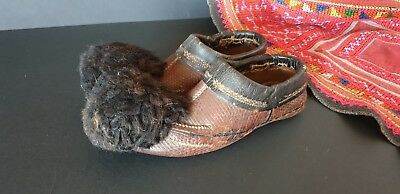 Old Turkish / Ottoman Childs Handmade Leather Slippers …beautiful collection / d