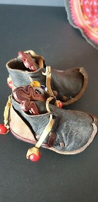 Old Turkish / Ottoman Handmade Leather Baby Slippers …beautiful collection...