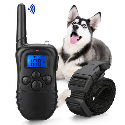 Pet Dog Training Collar Remote Waterproof Rechargeable Electric LCD 100LV Shock