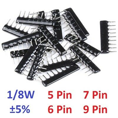1/8W 5/6/7/9 Pin DIP Network Array Resistor ±5% Range (100Ω/Ohm to 100KΩ/Ohm)