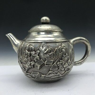 Collect Chinese Tibet silver wine bottle carving house.   b586