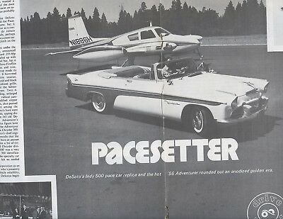 1956 DESOTO INDY 500 PACE CAR  DRIVE REPORT 6 Page Article