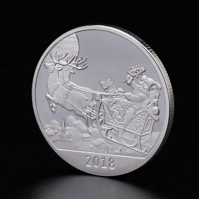 Christmas Commemorative Coin Santa Claus Deer New Year Collection Crafts Silver