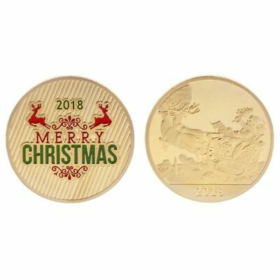Christmas Commemorative Coin Santa Claus Deer New Year Collection Craft Souvenir