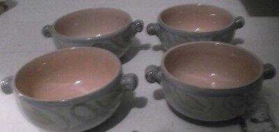 Lot of Four (4) Denby Stoneware Manor Gray Lug Handled Soup Bowls serving dishes