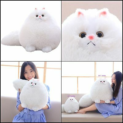 Fluffy White Persian Cat Stuffed Animal Plush Toy Pet Doll Kids Soft