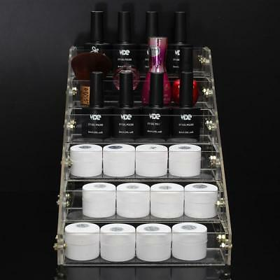 6 Tiers Clear Acrylic Cosmetic Organizer Makeup Case Jewelry Storage Holder Rack