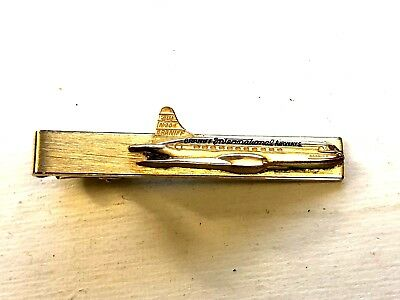 Braniff Int Airways LOCKHEED ELECTRA Gold Filled Pilot & Crew TIE BAR PIN 1950s