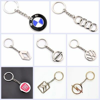 Auto 3D High Quality Car Logo Metal Key Chains Holder Silver Chain Keyring