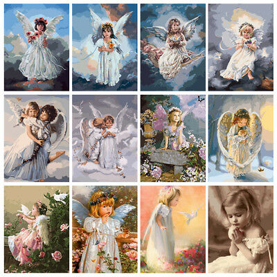 40*50cm Angel Bayby DIY Paint Oil Painting By Numbers Kit Art Home Wall Decor