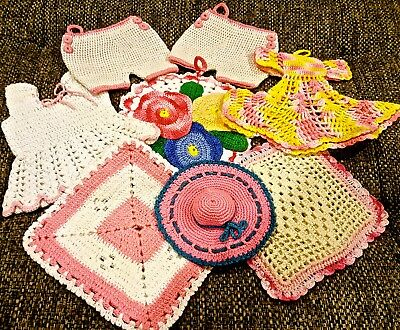 BEAUTIFUL PINK Blend of Vintage Crocheted Potholders in Excellent Condition A51