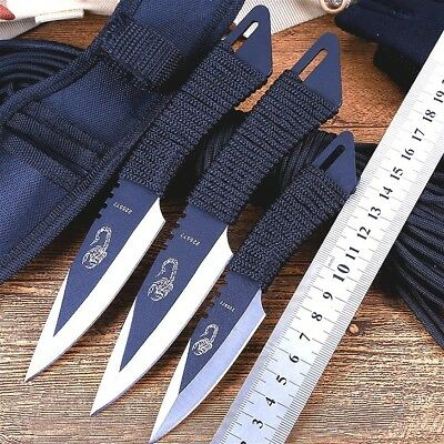 Throwing Knife Set Three Knives Stainless Steel Handles with Nylon Belt Sheath