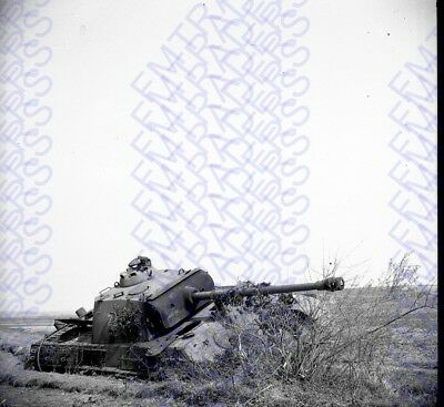 "WW2 Orig Snapshot Negative, 2.25x2.25"" German Tank Out of Comission 4935"