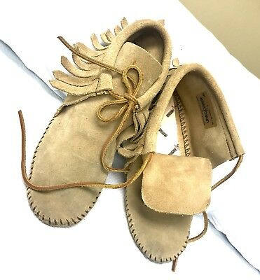 Minnetonka VTG Light Brown leather fringe soft sole Moccasin Shoe Boot Wms sz 5