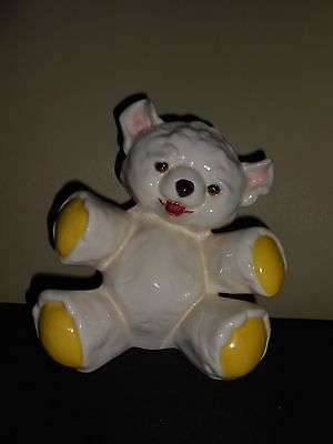 Adorable Vtg/mid Century Ceramic Teddy Bear 8.25'' Tall Wide Slot Bank W Stopper