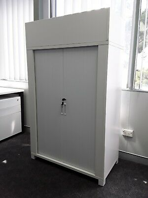 White Tambor/ Filing Cabinet Unit With Pot Plant Holder On Top