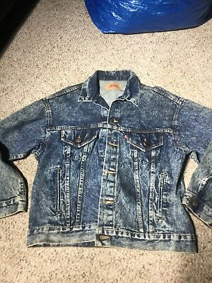 Vintage Levi's Denim Trucker Jacket Red Tab Dark Acid Wash 70507 Men's Medium