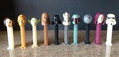 Ten Vintage Pez Star Wars Dispensers 90's Originals Leia Yoda Darth C3Po Chewba