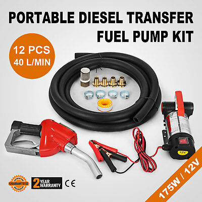 Digital Flow Meter 12V Diesel Transfer Fuel Pump Kit Speed 175 W Wall Mounted